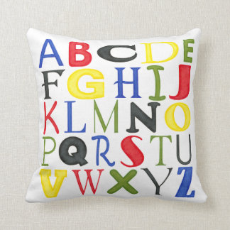 Brightly Colored Letters by Megan Meagher Cushion