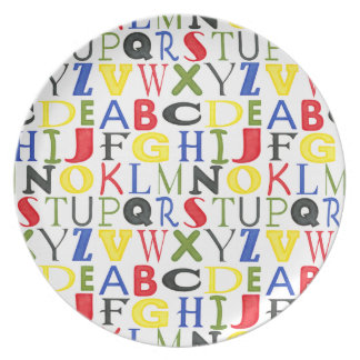 Brightly Colored Letters by Megan Meagher Dinner Plate
