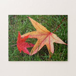 Brightly Colorful Maple Leaf Jigsaw Puzzle