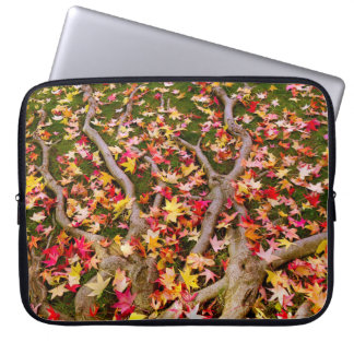 Brightly Colorful Maple Leaf Laptop Sleeve