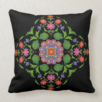 Brightly Coloured Floral Rangoli Pattern on Black Cushion