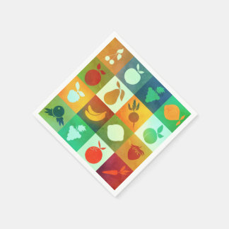 Brightly coloured fruits and vegetables napkin disposable serviette
