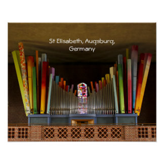 Brightly coloured organ pipes poster