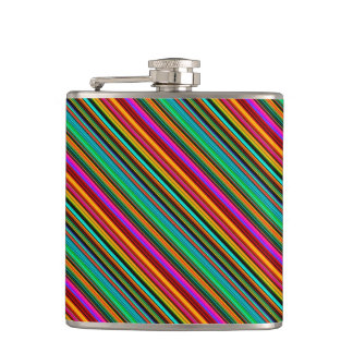 Brightly Multicolored Stripes Hip Flask