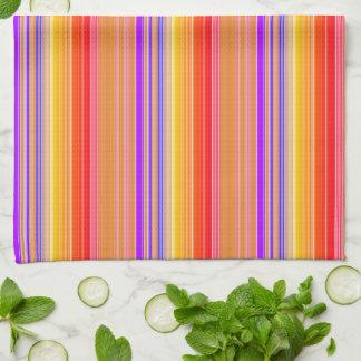 Brightly Multicolored Stripes Tea Towel