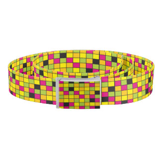 Brightly Neon Colored Squares Pattern Belt