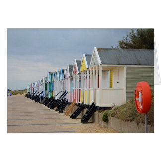 Brightly Painted Beach Huts Card