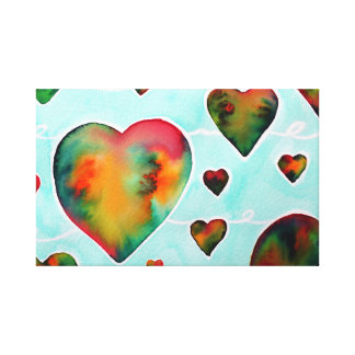 Brightness watercolor hearts print on canvas