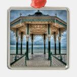 Brighton Bandstand, England Silver-Colored Square Decoration