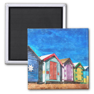Brighton Bathing Boxes Watercolor Painting Square Magnet