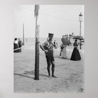 Brighton Beach Life Guard, 1906. Vintage Photo Poster