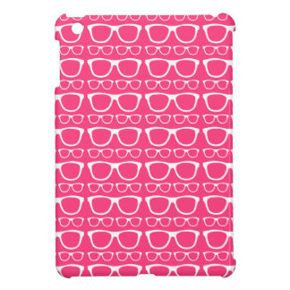 BrightPink and White Hipster Retro Glasses Pattern Case For The iPad Mini