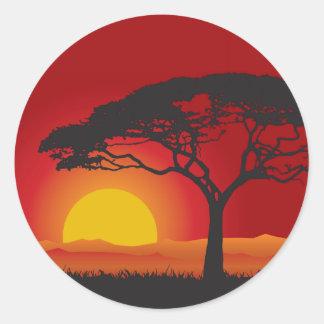 Briliiant Red Sunset Under The Bonsai Tree Round Sticker
