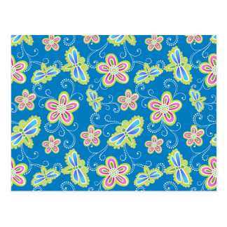 Brillant flowers, dragonflies and swirls on blue postcard