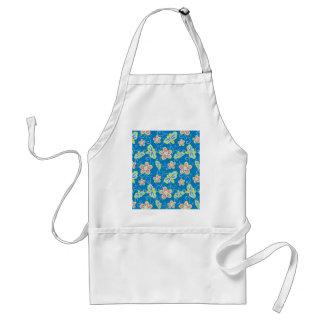 Brillant flowers, dragonflies and swirls on blue standard apron