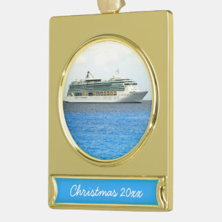 Brilliance in the Caymans Dated Gold Plated Banner Ornament