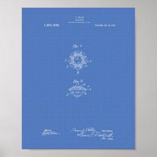 Brilliant 1919 Patent Art Blueprint Poster