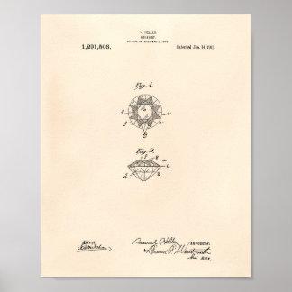 Brilliant 1919 Patent Art Old Peper Poster