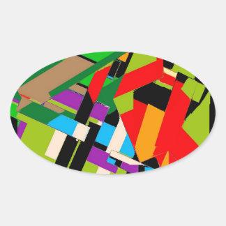 Brilliant Abstract Design Oval Sticker