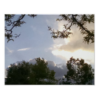 Brilliant, backlit clouds, framed by trees poster