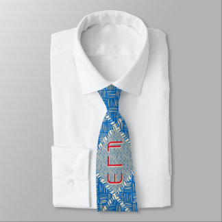 Brilliant Blue and Off-White Hatch Monogrammed Tie