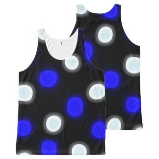 Brilliant Blue and White Polka Dots on Black All-Over Print Singlet