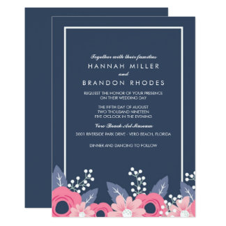 Brilliant Blue Floral Wedding Invitation