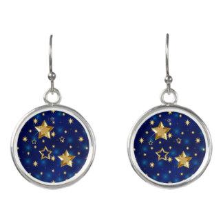 Brilliant Blue & Gold Shiny Stars Earrings