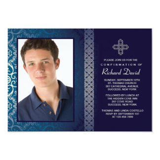 Brilliant Blue Photo Invitation (Horizontal)