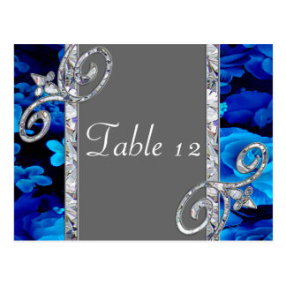Brilliant Blue Roses & Diamond Swirls Wedding CST2 Postcard