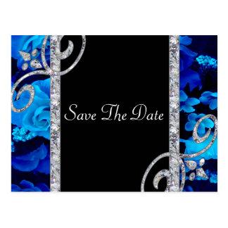 Brilliant Blue Roses & Diamond Swirls Wedding Postcard