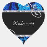 Brilliant Blue Roses & Diamond Swirls Wedding Heart Sticker