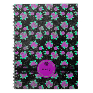 Brilliant, Bright Purple Roses Spiral Note Book