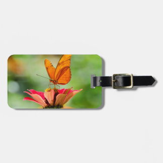Brilliant Butterfly on Bright Orange Gerber Daisy Luggage Tag