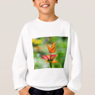 Brilliant Butterfly on Bright Orange Gerber Daisy Sweatshirt