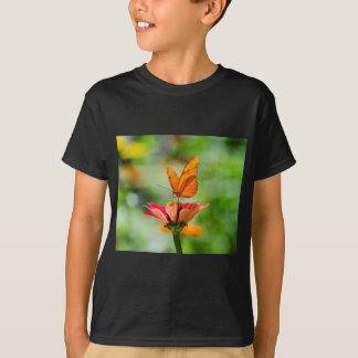 Brilliant Butterfly on Bright Orange Gerber Daisy T-Shirt