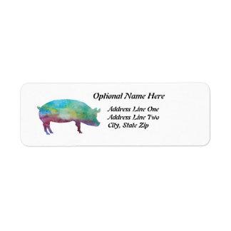 Brilliant Color-washed Pigs Return Address Label