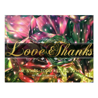 Brilliant Colorful Crystal Love and Thanks Wedding Postcards