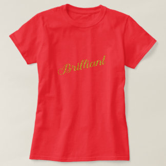 Brilliant Gold Faux Glitter Metallic Sequins Quote Tee Shirt