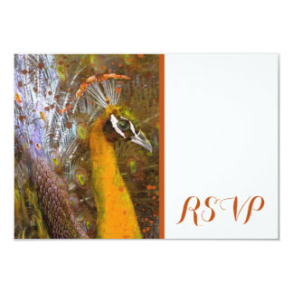 Brilliant Gold Peacock RSVP Card