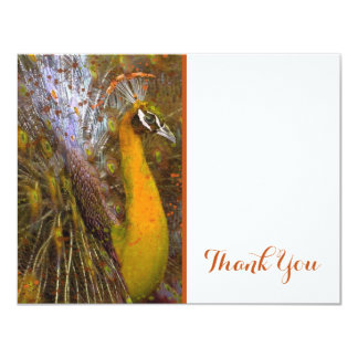 Brilliant Gold Peacock Thank You Card