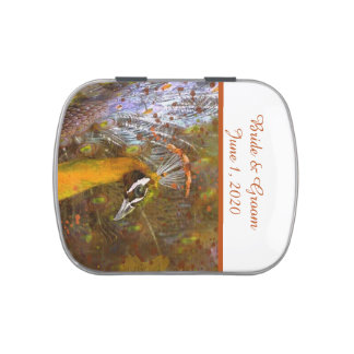 Brilliant Gold Peacock Wedding Favors Jelly Belly Tin