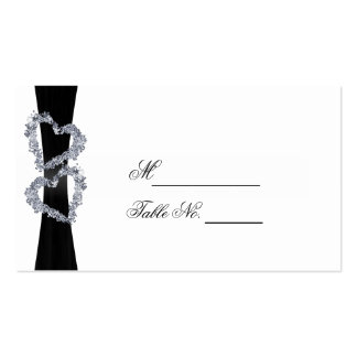 Brilliant Hearts: Black Ribbon and Diam Place Card Pack Of Standard Business Cards