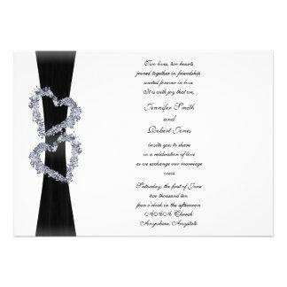Brilliant Hearts Black Ribbon and Diamond Hearts Custom Announcement