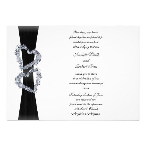Brilliant Hearts: Black Ribbon and Diamond Hearts Custom Announcement