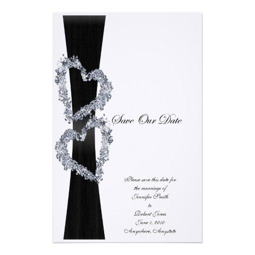 Brilliant Hearts: Black Ribbon and Diamond Hearts Custom Stationery