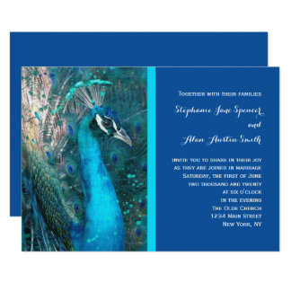 Brilliant Peacock Blue Wedding Invitation