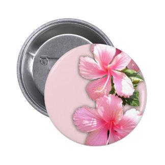 Brilliant Pink Hibiscus Flowers 6 Cm Round Badge