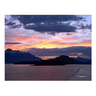 Brilliant Pink Inside Passage Sunset Postcard