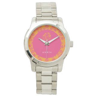 Brilliant Pink & Orange Floral Watch